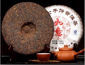 Фото: Блин чая пуэр весом в 375 грамм.